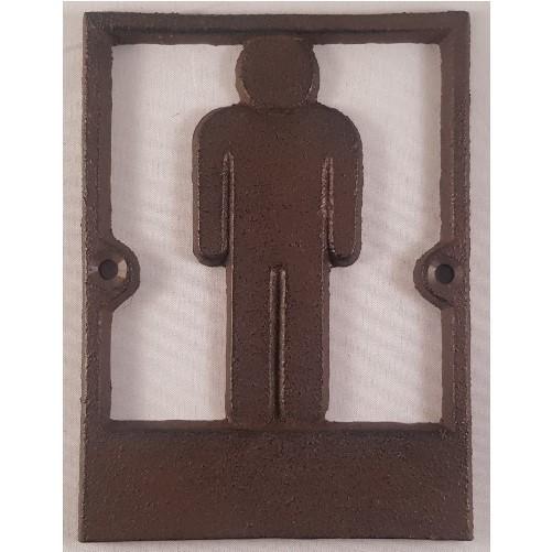 Decoratieve gietijzeren muur of deurplaat : Toilet - Man