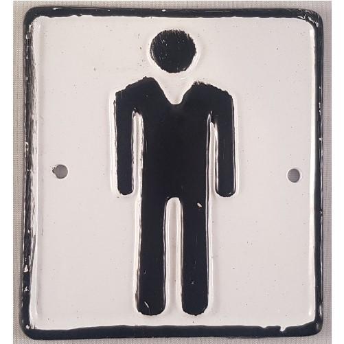 Decoratieve gietijzeren muur of deurplaat : Toilet - Man  wit/zwart