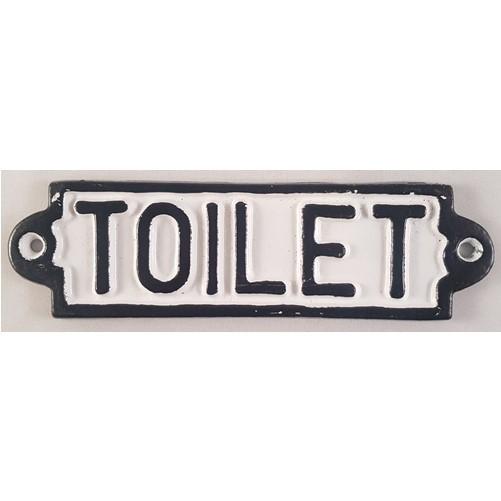 Decoratieve gietijzeren muur of deurplaat : Toilet   wit/zwart