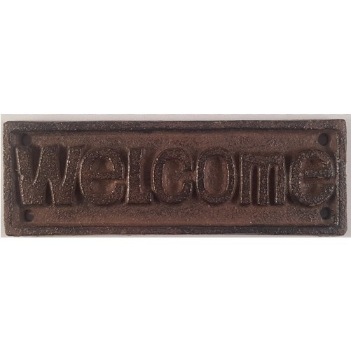 Decoratieve gietijzeren deur of muurplaat : Welcome   bruin