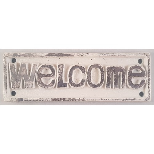 Decoratieve gietijzeren deur of muurplaat : Welcome    wit/creme