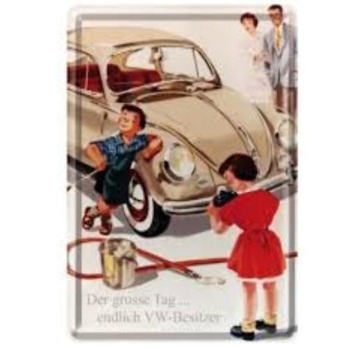 Metalen wenskaart  VW Kever