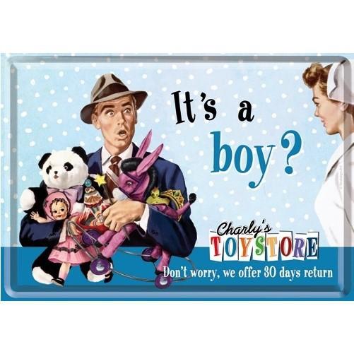 Metalen wenskaart  It's a Boy