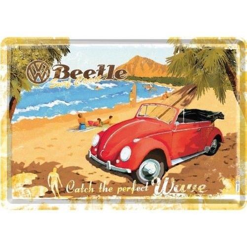 Metalen wenskaart  Volkswagen Kever strand