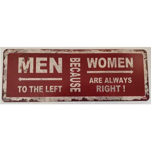 Muurplaat Men left Woman right