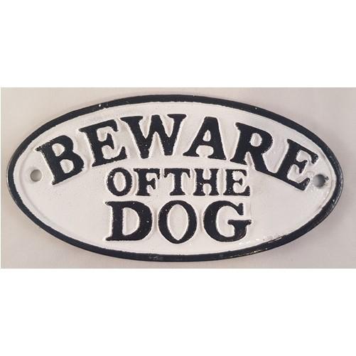 Decoratieve gietijzeren muur of deurplaat : Beware of the dog  wit/zwart