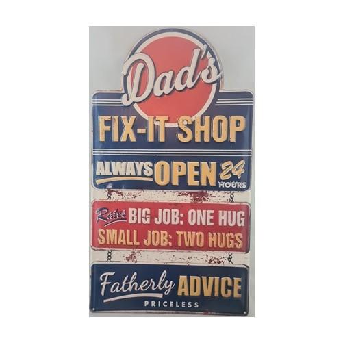 Muurplaat Dad's fix it shop