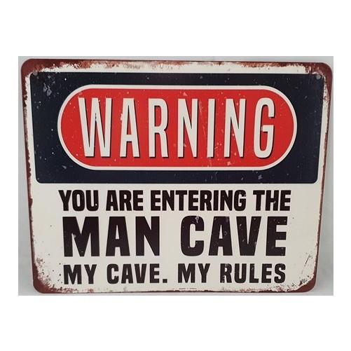 Muurplaat  Warning Man cave